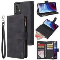 LBYZCASE Phone Case for Moto G Stylus 2021,Motorola G Stylus 2021 Wallet Case,Folio Flip Leather Cover[Zipper Pocket][Wrist Strap][Kickstand ] for Motorola Moto G Stylus 2021 (Black)