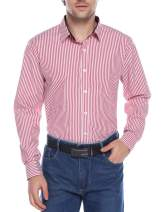 iClosam Men's Dress Shirts Cotton Striped Button Down Shirt Red