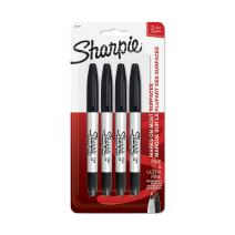 Sharpie Twin Tip Permanent Markers, Fine & Ultra-Fine Points, Black, 4 Pack (32175PP)