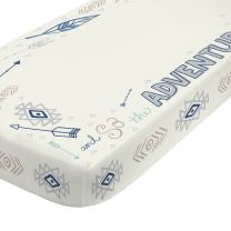 NoJo Aztec Mix & Match 100% Cotton Teal Feather Photo Op Crib Sheet, Navy, Ivory, Grey