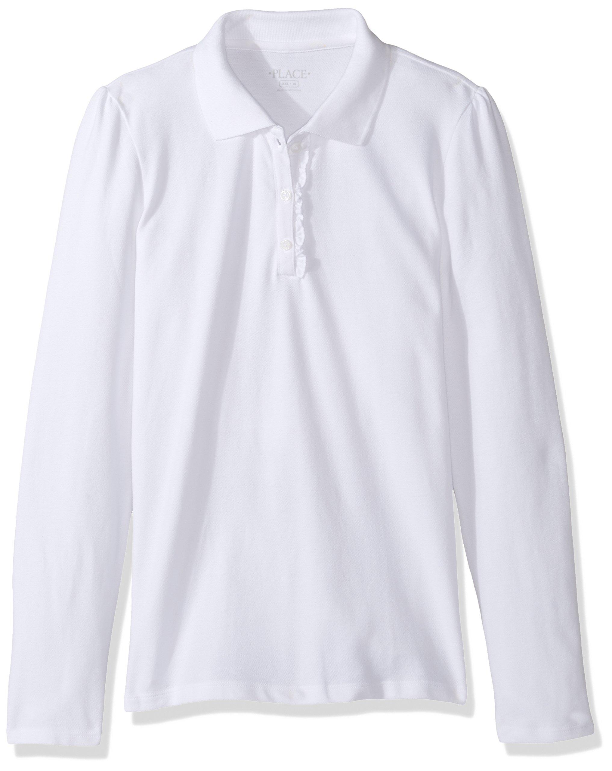 The Children's Place Big Girls' Long Sleeve Ruffle Polo Shirt