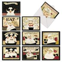 Notes Du Jour - 10 All Occasion Thank You Greeting Cards with Envelopes (4 x 5.12 Inch) - Chef, Baking, Kitchen Cook - Thanks Note Card Set, Boxed Notecard Stationery AM6834TYG-B1x10