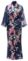 Kimono Robe Long Satin Peacock & Floral Print Bathrobe Sleepwear Bridesmaid Gift