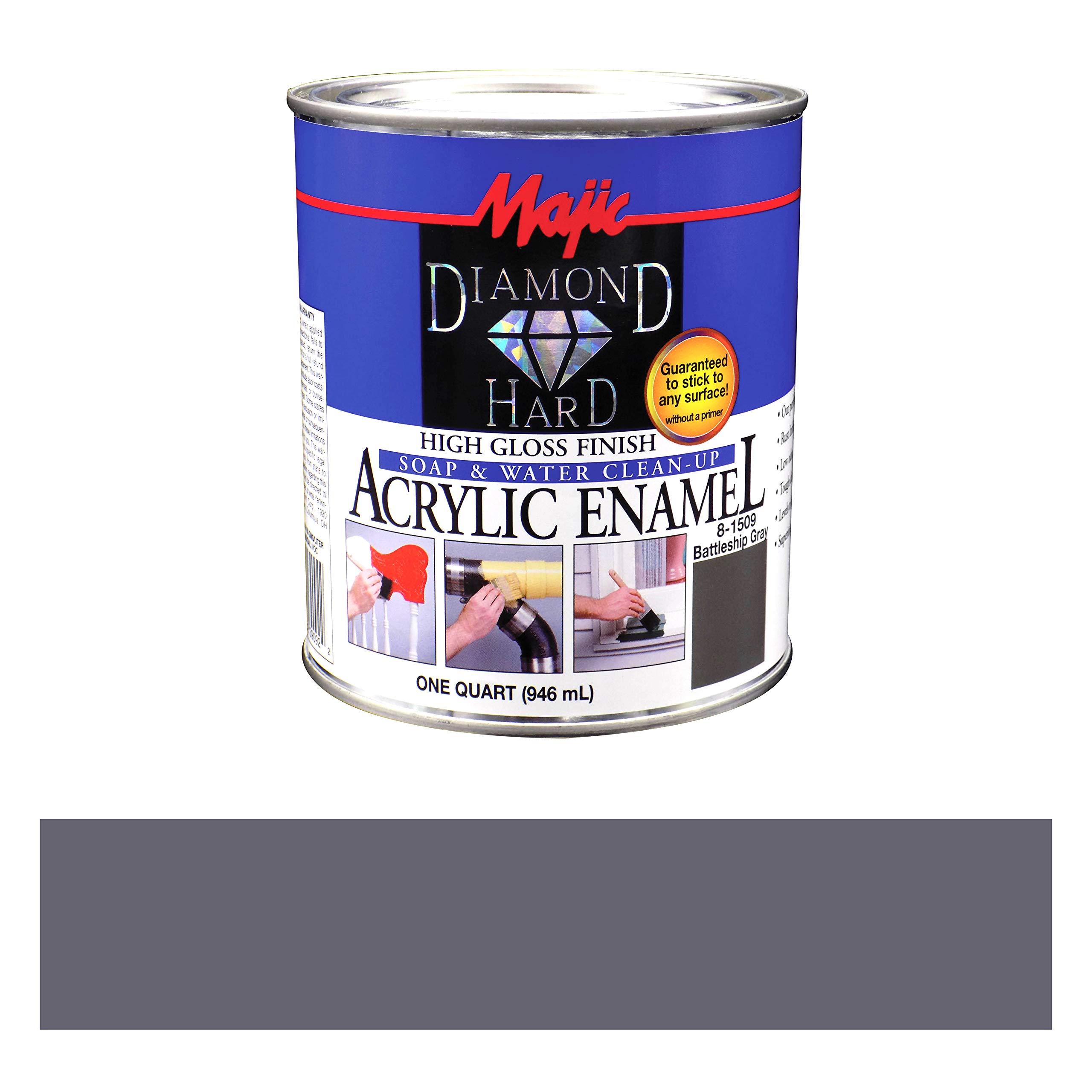 Majic Paints 8-1509-2 Diamond Hard Acrylic Enamel High Gloss Paint, 1- Quart, Battleship Gray
