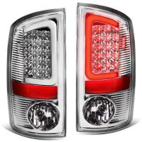 Replacement for Dodge Ram Pickup 3rd Gen Pair of 3D White LED Bar Chrome Housing Clear Lens Brake Tail Lights