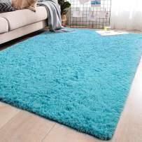 YJ.GWL Soft Blue Shaggy Area Rugs for Living Room Bedroom Non-Slip Carpet Baby Nursery Decor Fluffy Modern Rug 5.3 x 7.6 Feet