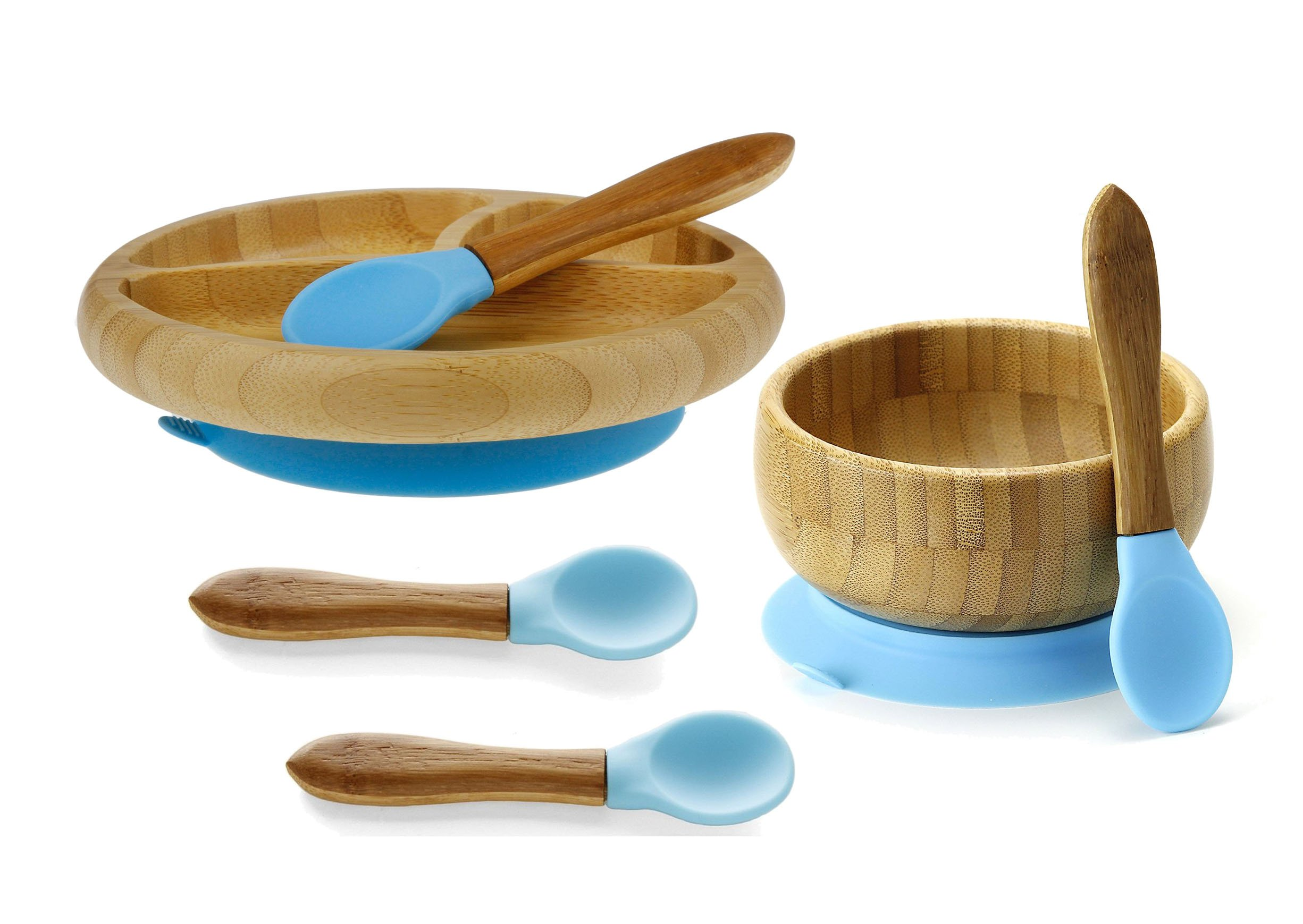 Avanchy Feeding Bamboo Spill Proof - Stay Put Suction Bowl, Blue with Avanchy Feeding Bamboo Divided Plate and Avanchy Toddler Infant Feeding Spoon - A Great Baby Gift Set! 2 Spoons Pack, Blue