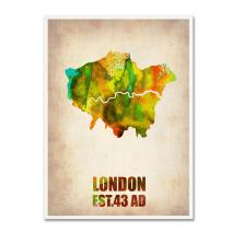 London Watercolor Map by Naxart, 18 by 24-Inch Canvas Wall Art