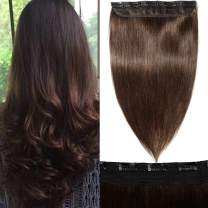 S-noilite 3/4 Full Head Clip in Extensions Human Hair 55g 5 Clips One Piece Hair Extensions Clip-in Human Hair Thick Long Straight Clip on Hair for Women #2 Dark Brown