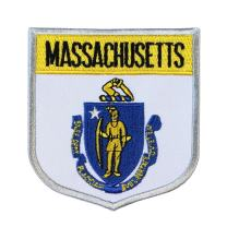 State Flag Shield Massachusetts Patch Badge Travel Embroidered Iron On Applique