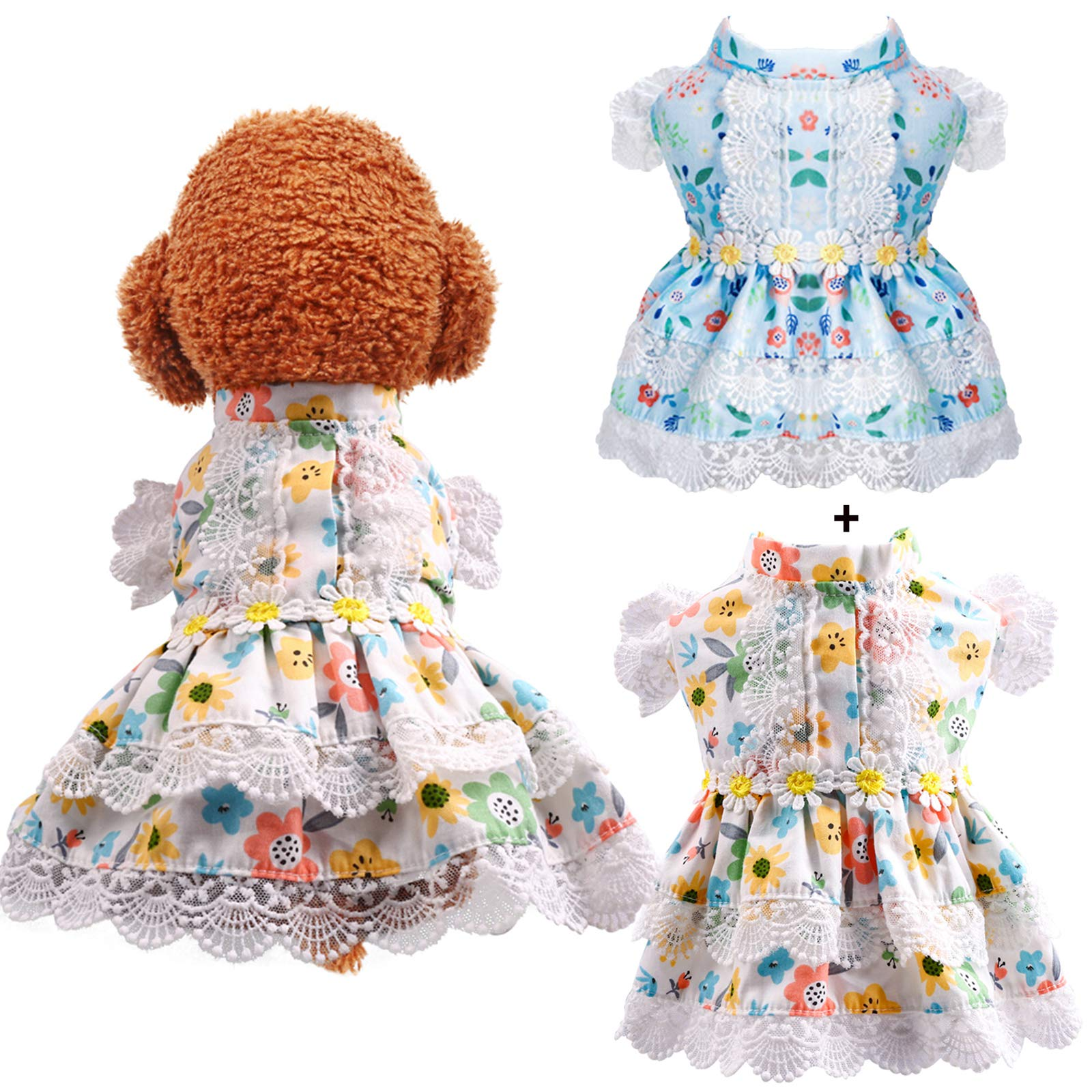ABRRLO 2 Pack Dog Dress for Small Dogs Girl Summer Pet Clothes Cute Floral Lace Puppy Cat Princess Dress