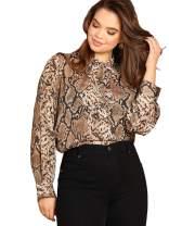 Romwe Women's Plus Elegant Leopard Chiffon Button Down Bow Tie Blouse Top Shirts