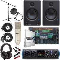PreSonus Studio 24c 2x2 USB Type-C Audio/MIDI Interface w/Eris 3.5 Pair Studio Monitors, Studio Microphone and LyxPro Recording Bundle