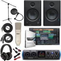 PreSonus Studio 24c 2x2 USB Type-C Audio/MIDI Interface w/Eris 3.5 Pair Studio Monitors, Studio Microphone and LyxPro Recording Bundle