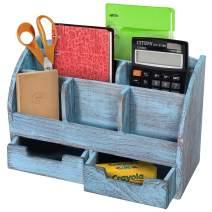 Rustic Wooden Desk Organizer for Home or Office - Mail Rack for Desktop, Tabletop, or Counter – Desk Supplies Organizer with 2 Drawers and 6 Compartments – Rustic Blue Workspace Organizer