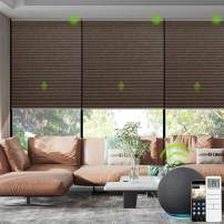 Yoolax Smart Motorized Cellular Shade Works with Alexa, Blackout Automatic Honeycomb Window Blinds Customized Size, Cordless Single Cell Electric Blinds with Remote Control for Windows (Brown)
