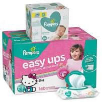 Pampers Easy Ups Pull On Disposable Potty Training Underwear for Girls, Size 4 (2T-3T), 140 Count, ONE MONTH SUPPLY with Baby Wipes Sensitive 6X Pop-Top Packs, 336 Count (Packaging May Vary)