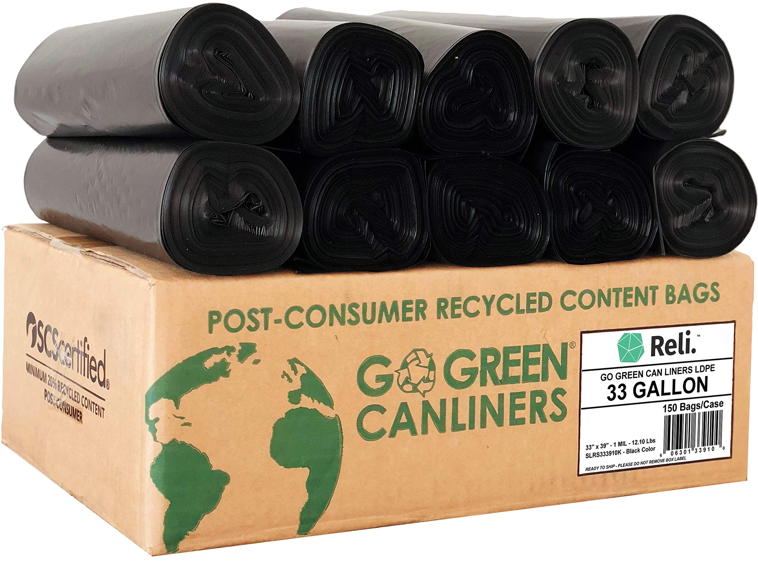 Reli. Eco-Friendly 33 Gallon Trash Bags (150 Count Black) Recyclable Garbage Bags 33 Gallon, Made from Recycled Material - Black 30 Gallon - 35 Gallon Large Capacity (30 Gal - 35 Gal), Recyclable