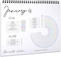 """Habit Tracker Calendar - Planner Notepad, Spiral Bound Habit Tracker Journal with Goal Planner + Weekly Planner Pad - Undated 12 Months, 8""""x10"""""""