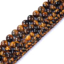 """Natural Stone Beads 6mm Yellow Tiger Eye Gemstone Round Loose Beads Crystal Energy Stone Healing Power for Jewelry Making DIY,1 Strand 15"""""""