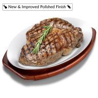 ChefGiant Sizzling Plate Steak Platter Set, 12 Inch Oval Aluminum with Wood Underliner Holder - Indoor & Outdoor Steak Pan Grill Server - Display Steak, Fish, Pizza, Baked or Grilled Goods