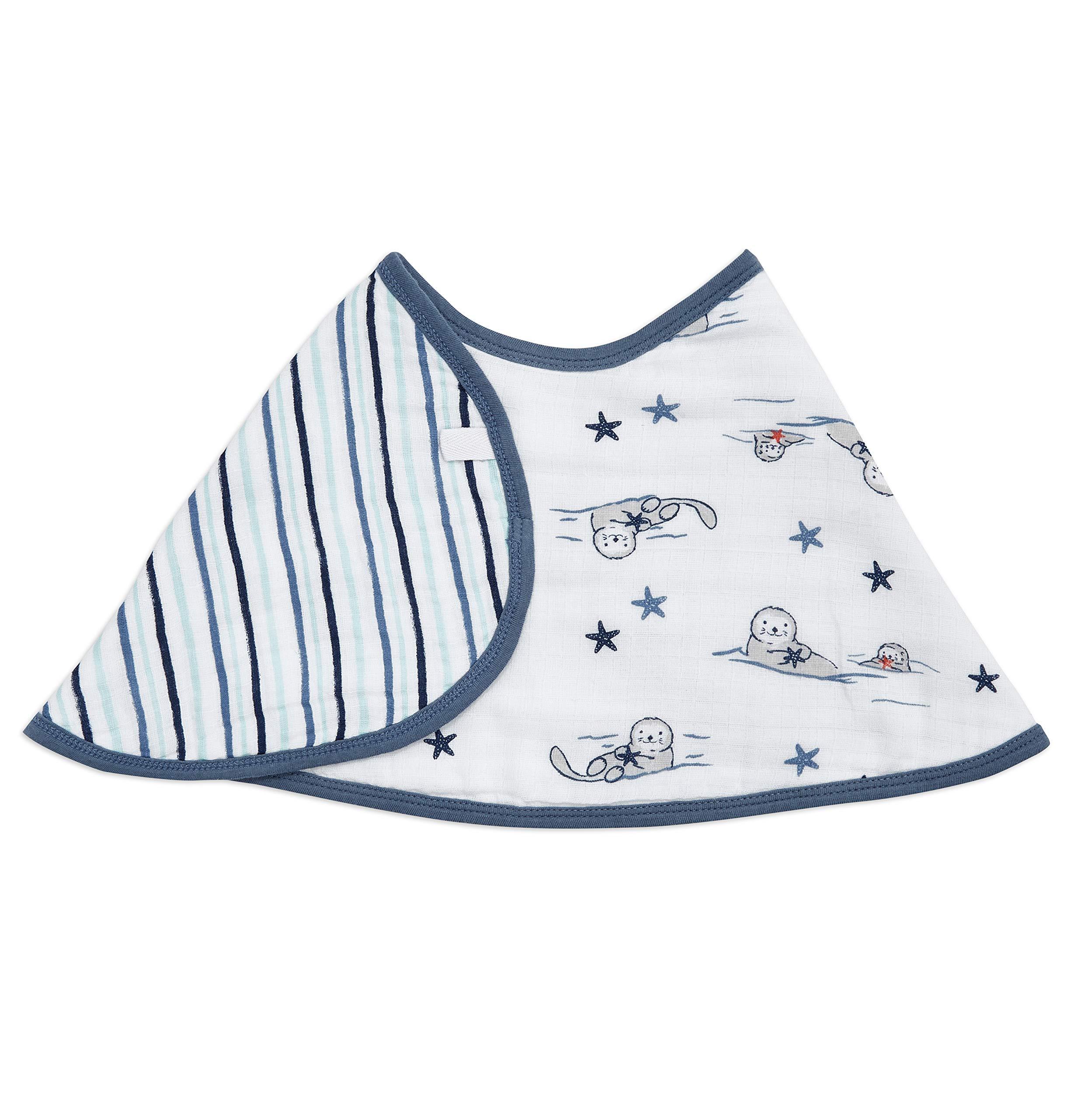 "aden + anais Burpy Baby Bib, 100% Cotton Muslin, Soft Absorbent 4 Layers, Multi-Use Burp Cloth and Bib, 22.5"" X 11"", Single, Seashore Otters"