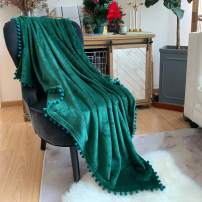 LOMAO Flannel Blanket with Pompom Fringe Lightweight Cozy Bed Blanket Soft Throw Blanket fit Couch Sofa Suitable for All Season(Emerald Green, 60''x 80'')