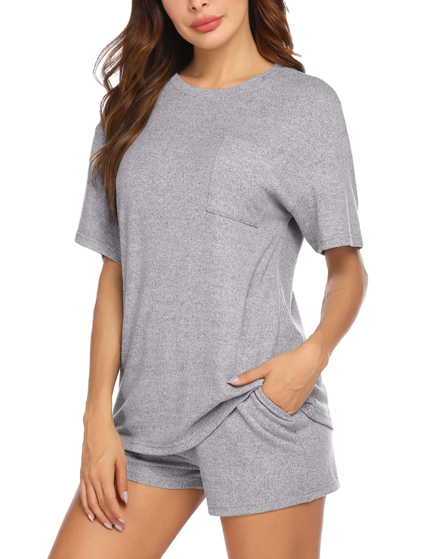Beyove Pajamas Set, Women's Short Sleeve Pocket Sleepwear Nightwear Pjs (S-XXL)