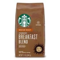 Starbucks Breakfast Blend Medium Roast Ground Coffee, 12 Ounce Bag