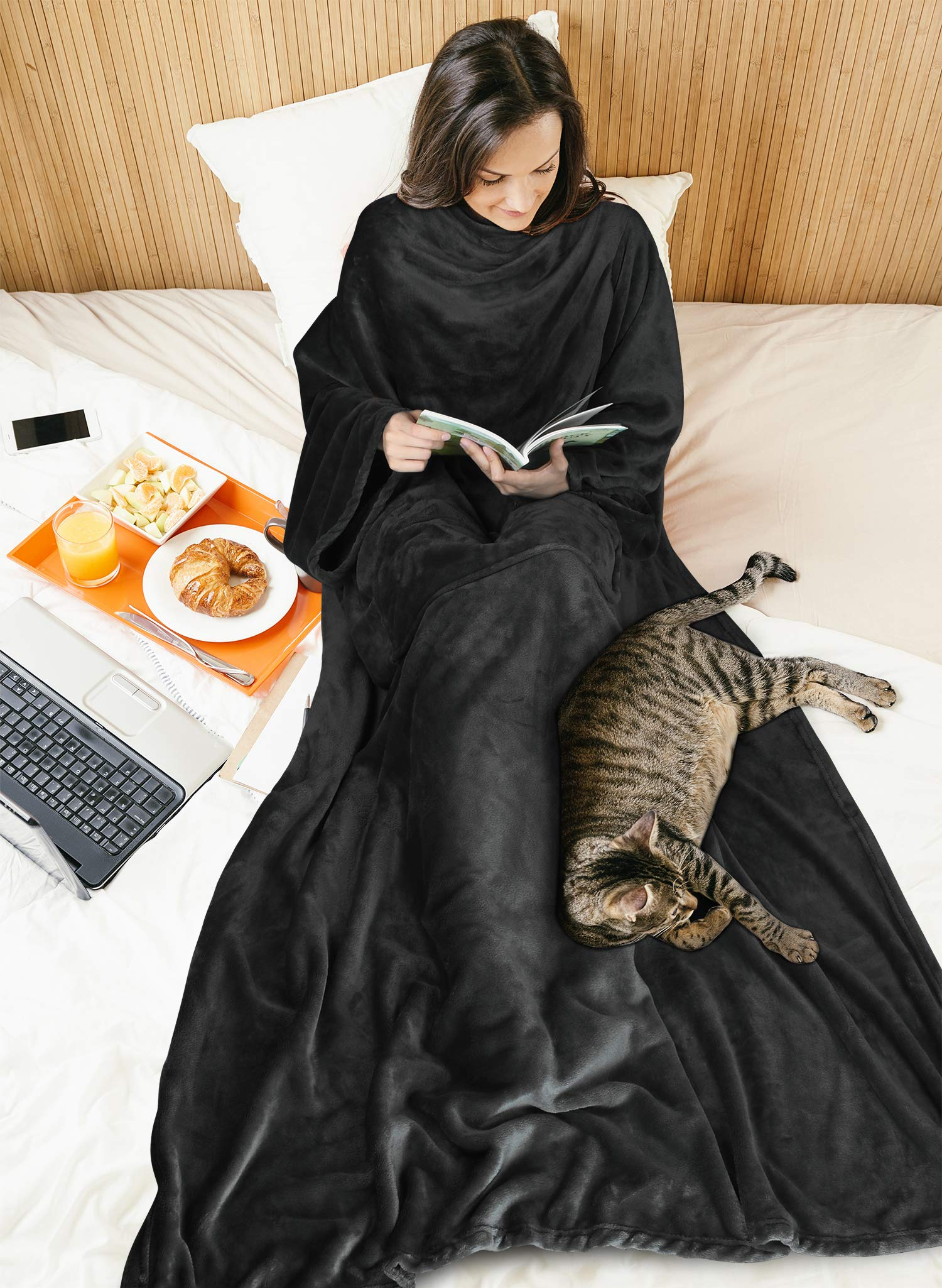 Fleece Wearable Blanket with Sleeves for Women Men, Super Soft Warm Cozy Micro Plush Functional Lightweight TV Wrap Robe Throw Blanket with Pocket for Lounge Couch Home Office, Black