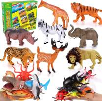 40PCS Large Animals Figures Toys Realistic Farm Animals Wild Zoo Animals Dinosaur Insect Sea Animals Figures Preschool Learning Playset for Toddlers Kids