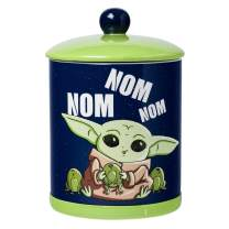 Silver Buffalo Star Wars Mandalorian Nom Frogs Large Canister Ceramic Cookie Jar, blue/green (SWM539EG)