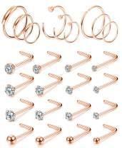 FIBO STEEL 25-62Pcs 20G Stainless Steel Hoop Nose Rings Screw Stud Rings Piercing Jewelry Colored CZ Inlaid