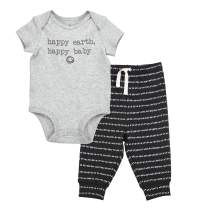 Oliver & Rain - Organic Happy Baby Short Sleeve Bodysuit and Dash Stripe Pants Outfit Set, Grey/Black Heather, NB