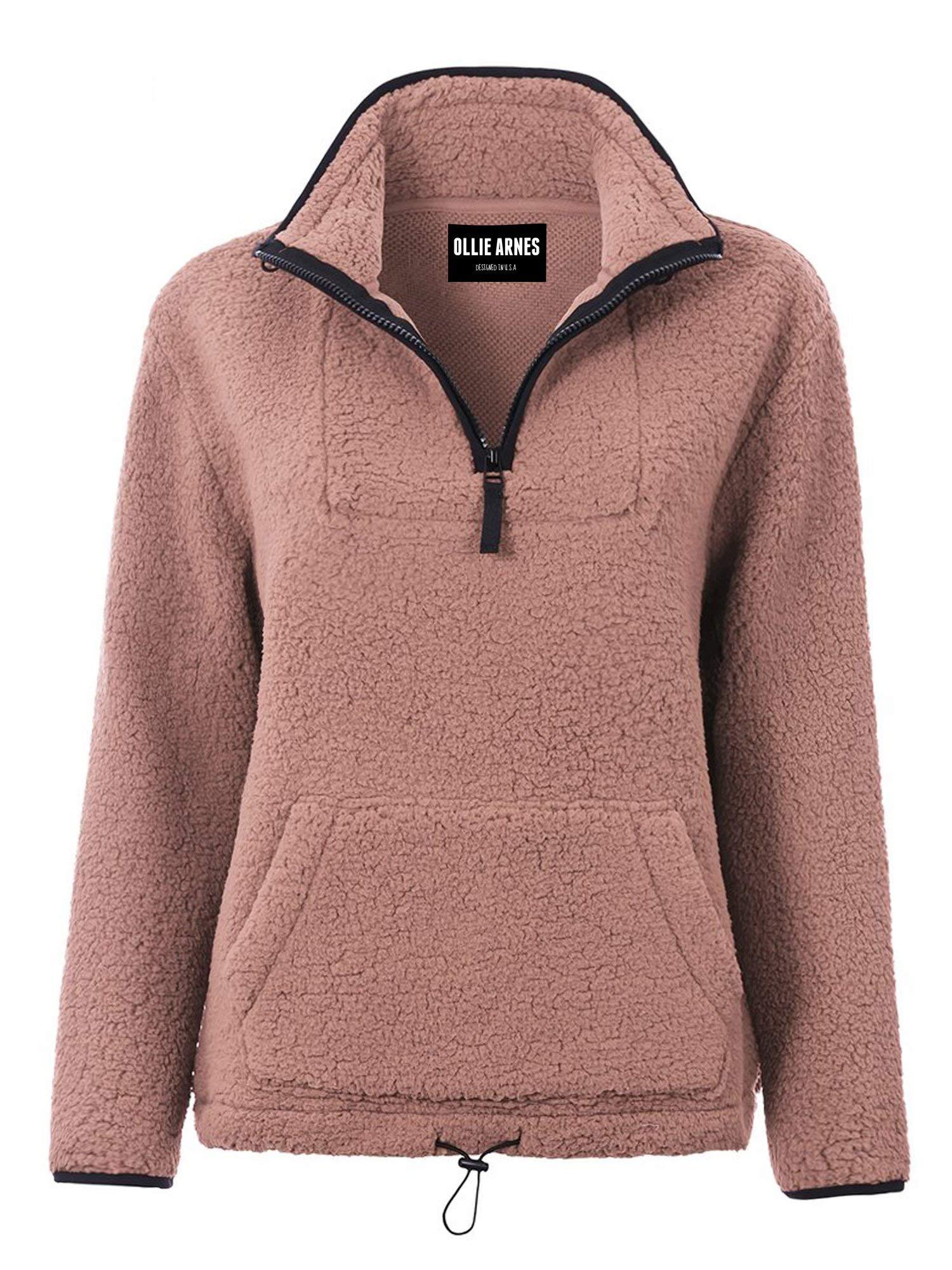 OLLIE ARNES Women's Fuzzy Soft Sherpa Faux Fur Half Zip Pullover Sweater Jacket
