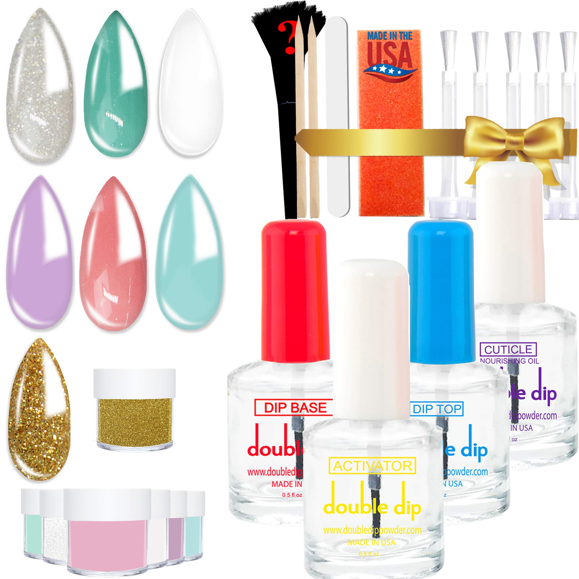 Dipping Powder Starter Kit 7 Colors | 2X POWDER VOLUME | MADE IN USA |Pastel Dip Powder System Starter Nail Kit| Essential & Portable Kit for Travel| Acrylic Dipping System for Nail Manicure Nail Art