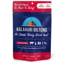 Spicy Peri Peri Kalahari Biltong, Air-Dried Thinly Sliced Beef, 2oz (Pack of 1), Sugar Free, Gluten Free, Keto & Paleo, High Protein Snack