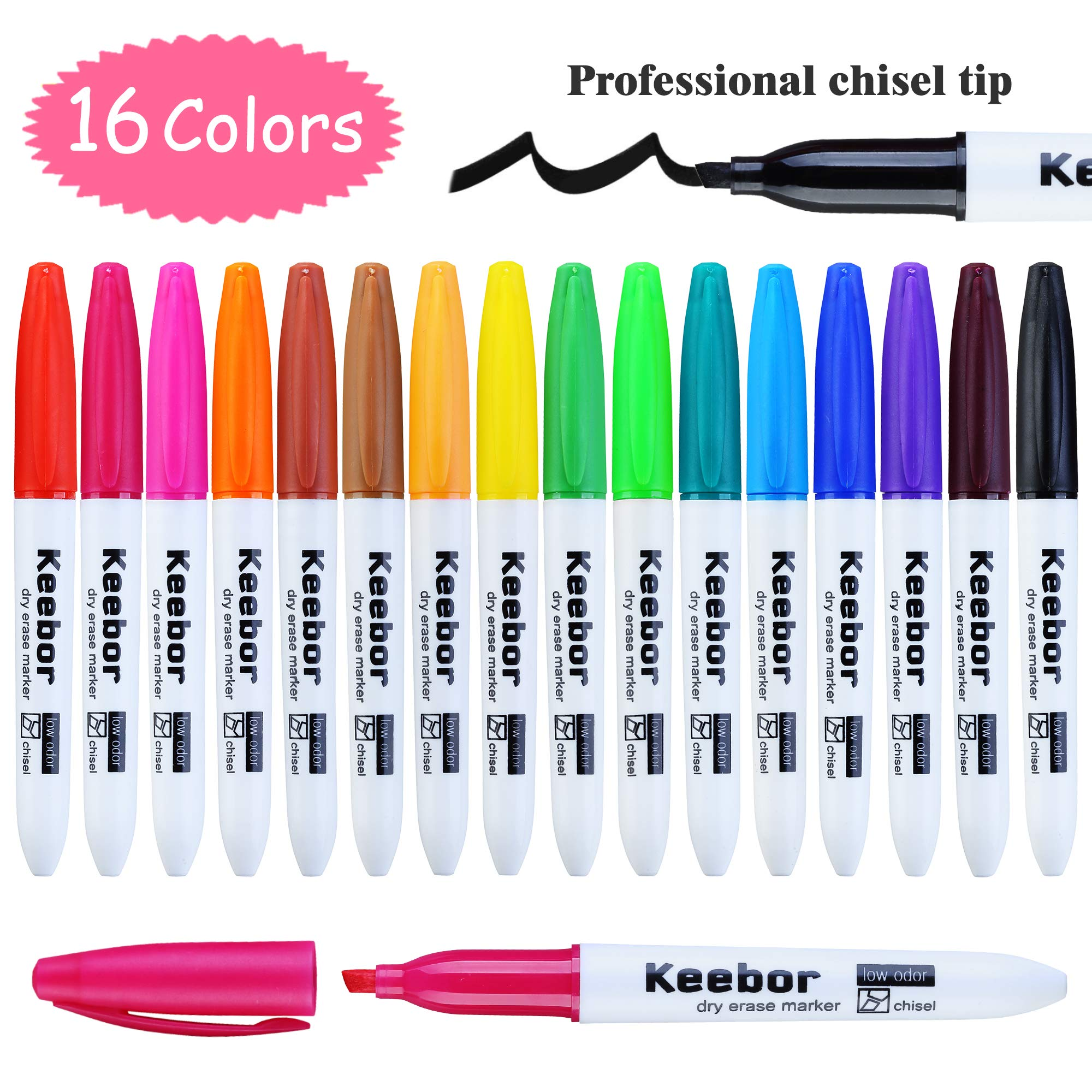 Keebor Basic Low Odor Dry Erase Markers Chisel Tip Whiteboard Markers, Assorted Color, 16 Pack