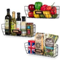 Wall35 Macon Hanging Fruit Basket for Kitchen Organization and Storage, Wall Mounted Metal Wire Baskets Set of 3 Black
