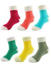 Slipper Bed Socks Soft Fun Warm Fuzzy Plush Cozy Women's Fuzzy Featherlight Cuff Socks - 6 Pair Assorments