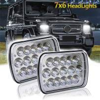 7x6 LED Headlights,2PCS 45W Sealed Beam Rectangular 5x7 LED Headlight High/Low Beam Universal Headlamp Dot for Jeep Cherokee Off-road Truck Harness Replace H6054 H5054 H6054LL