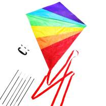 Diamond Kite Large Easy Flyer Rainbow Kites for Kids and Adults for Beach Park Garden Playground with Kite Handle Perfect Outdoor Fun