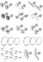 LOYALLOOK 15 Pairs 18G Stainless Steel Flower Heart Star Cartilage Earring CZ Inlaid Barbell Helix Stud Earrings Hoop Tragus Earring Piercing Jewelry