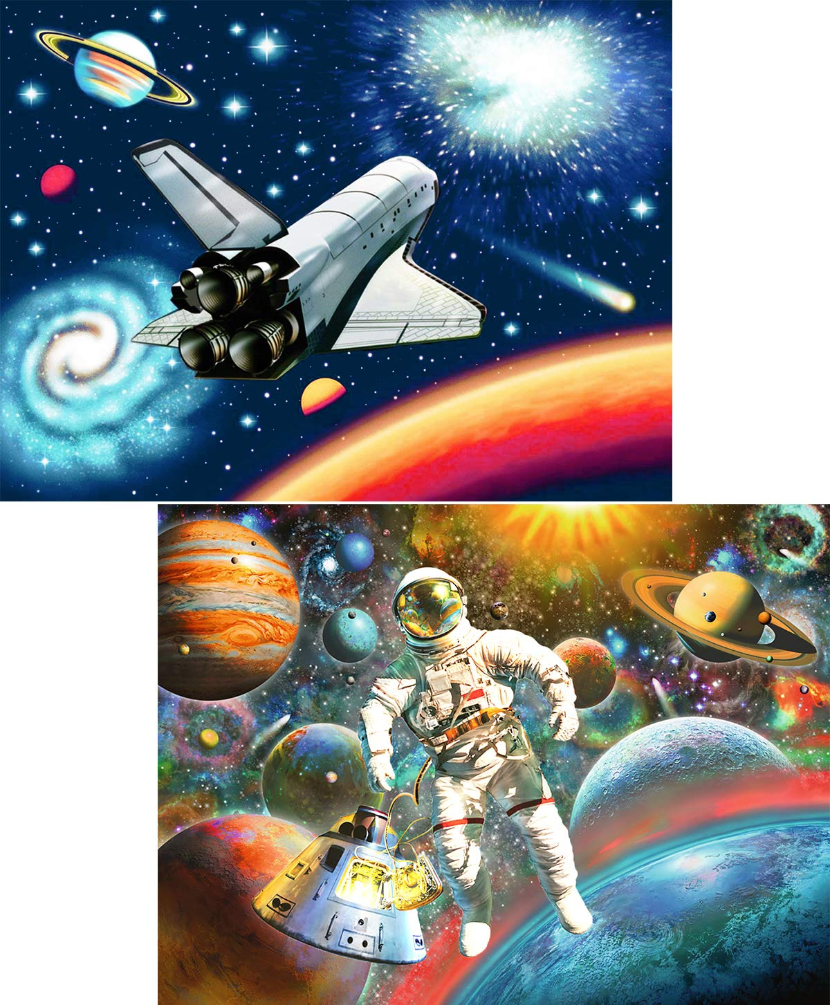 5D Diamond Painting by Number Kits Spaceships & Astronauts Full Drill for Adults Kids, Ginfonr Craft Rhinestone Paint with Diamonds Set Space Arts Decorations (12x16inch, 2 Pack)