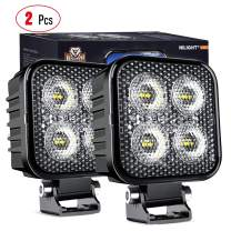 Nilight 2PCS 3Inch Led Pods Square 1500LM Built-in EMC Work Light 90° Flood Beam Angle for Offroad Lights Side Light Rear Back-Up Light for Tractor Truck Motorcycle Boat ATV UTV, 5 Years Warranty