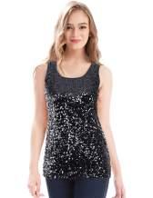 MANER Women's Sequin Tops Sleeveless Glitter Gradient Tank Club Party Vest (XS-3XL)