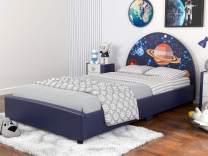 mecor Children Toddler Bed - Twin Size Faux Leather Upholstered Platform Bed Frame with Curved Headboard / Starry Sky Kids Bed for Boys & Girls, Teens(Starry Sky Design)