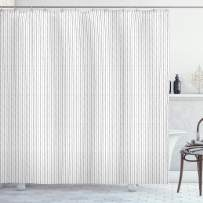 """Lunarable Striped Shower Curtain, Thin Black and Grey Stripes on White Backdrop Monochrome Vertical Lines, Cloth Fabric Bathroom Decor Set with Hooks, 84"""" Long Extra, Black Grey and White"""