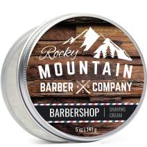 Shaving Cream for Men - Barbershop Scent - Hydrating, Rich & Thick Lather for All Skin Types Including Sensitive Skin by Rocky Mountain Barber Company - 5 Ounce Tin