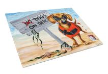 Caroline's Treasures AMB1341LCB The Dog Beach Dachshund Glass Cutting Board Large, 12H x 16W, multicolor
